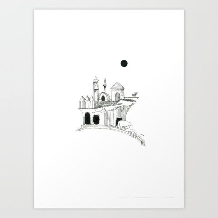 Lune noire & ours de cascade Art Print