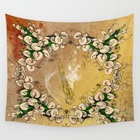 saxophone Wall Tapestries featuring Saxophone with flowers by nicky2342