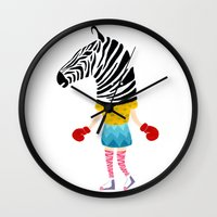 boxing Wall Clocks featuring Boxing time by Alba Vilardebo