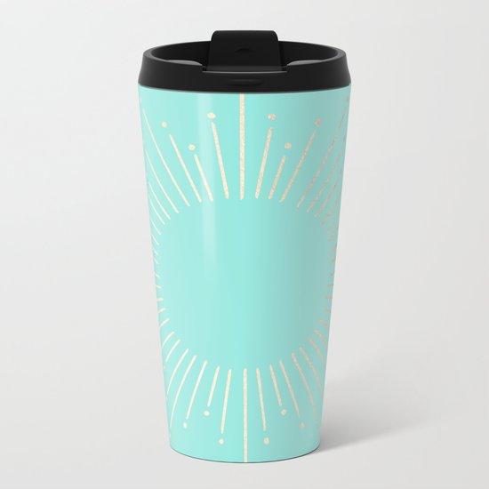 Simply Sunburst in Tropical Sea Blue Metal Travel Mug
