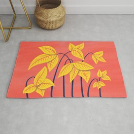 Abstract Flowers Geometric Art In Vibrant Coral And Yellow Rug