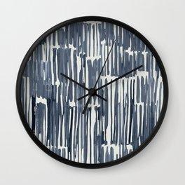 Simply Bamboo Brushstroke Indigo Blue on Lunar Gray Wall Clock