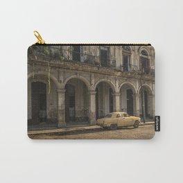 Old, damaged, vintage car in La Havana, Cuba. Carry-All Pouch