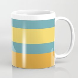 Wide Stripes in Turquoise Blue White Mustard Yellow and Orange Coffee Mug