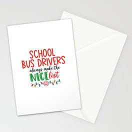 Christmas school bus driver, schoolbus Stationery Cards