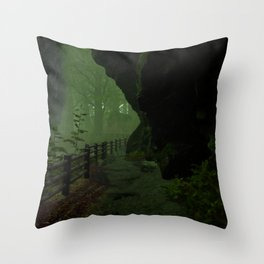 Forest path under the waterfall Throw Pillow
