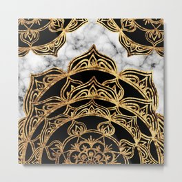 Gold Lace on Marble Metal Print