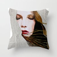 literary Throw Pillows featuring Literary Girl by Charlotte Massey