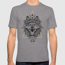 Wolf head portrait native american ethnic vintage illustration  T-shirt