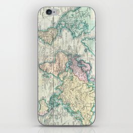 Vintage Map of The World (1801) iPhone Skin