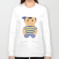 earthbound Long Sleeve T-shirts featuring Ness - Earthbound - Super Smash Brothers - Minimalist by Adrian Mentus