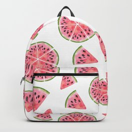 Modern pink green watercolor hand painted watermelon pattern Backpack