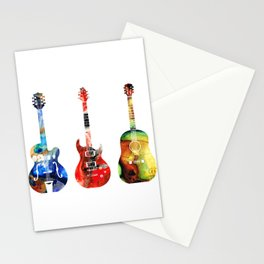 Guitar Threesome - Colorful Guitars By Sharon Cummings Stationery Cards