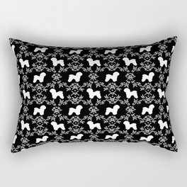 Bichon Frise dog florals silhouette black and white minimal pet art dog breeds silhouettes Rectangular Pillow