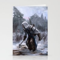 assassins creed Stationery Cards featuring Assassins Creed - Connor by Juhani Jokinen