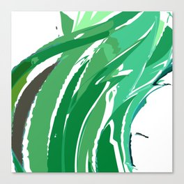 Green Abstract Waves Canvas Print