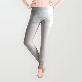 Pastel striping - rose gold marble Leggings
