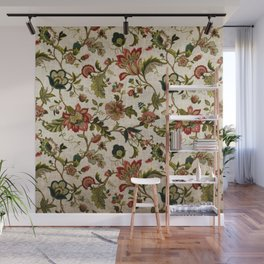 Red Green Jacobean Floral Embroidery Pattern Wall Mural
