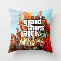 grand theft auto Throw Pillows featuring Grand theft auto 5 by customgift