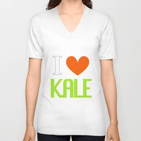 vegetarian V-neck T-shirts featuring I Love Kale - Vegan & Vegetarian - Kale Love by Be Kindly