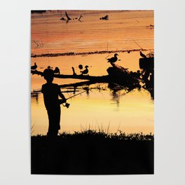 Little Boy Fishing Poster