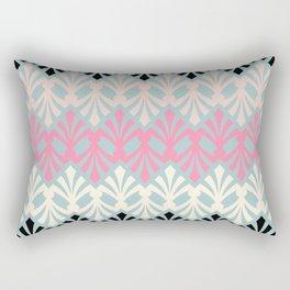 Decorative Plumes - Pink Cream Black on Green Rectangular Pillow