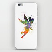 tinker bell iPhone & iPod Skins featuring Tinker bell in watercolor by Paulrommer