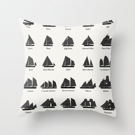 Sailing Vessel Types And Rigs Throw Pillow