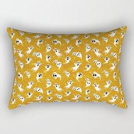 Gold Glitter Halloween Ghosts Boo Rectangular Pillow