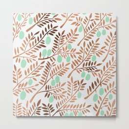 Olive Branches – Rose Gold & Mint Metal Print