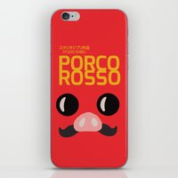 hayao miyazaki iPhone & iPod Skins featuring Porco Rosso - Miyazaki - Alternative Cartoon Poster by Stefanoreves