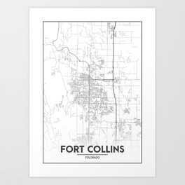 Minimal City Maps - Map Of Fort Collins, Colorado, United States Art Print