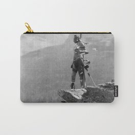 Eagle's Lookout, Blackfoot tribe members, Glacier Park, Montana, 1913 black and white photography Carry-All Pouch