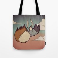 skyfall Tote Bags featuring SkyFall by Bright Raven Designs