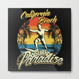 California Beach Surfing Metal Print