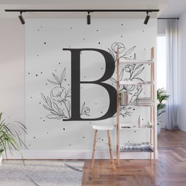 Black Letter B Monogram / Initial Botanical Illustration Wall Mural