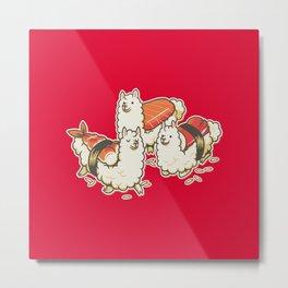 Alpaca Sushi Niguiri Metal Print