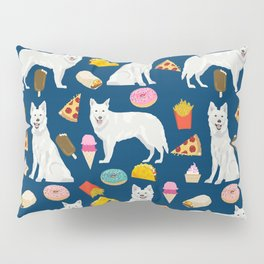 White Shepherd dog breed White German Shepherd junk food french fries donuts pet friendly pet art Pillow Sham