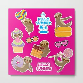 Hello Summer bright tropical patches stickers. Kawaii cute sloth collection Metal Print