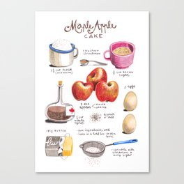 illustrated recipes: apple maple cake Canvas Print