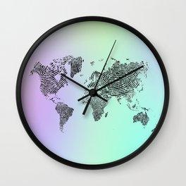 Fingerprinted World Map Wall Clock