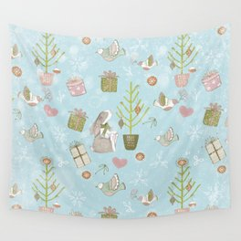 From Bunnies And Christmas - Cute teal X-Mas Pattern Wall Tapestry
