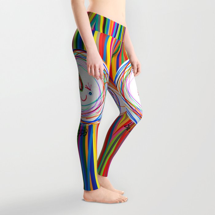 Be Happy   Smile   Stay Child   Kids Painting Leggings