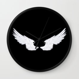 White Angel Wings Wall Clock