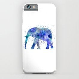 Blue Watercolor Elephant iPhone Case