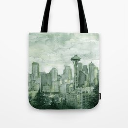 Seattle Skyline Watercolor Space Needle Emerald City 12th Man Art Tote Bag