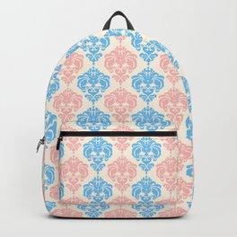 Vintage chic ivory coral blue floral damask pattern Backpack