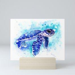 Blue Hawaiian Sea Turtle, Turquoise Blue Cute Animal Sea world Art Mini Art Print