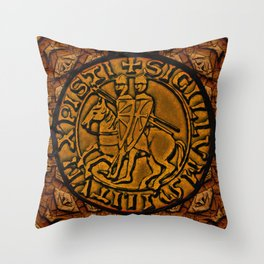 Medieval Seal of the Knights Templar Throw Pillow
