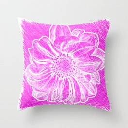 White Flower On Hot Pink Crayon Throw Pillow